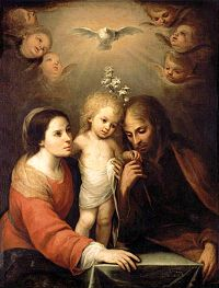 Today is the Feast of the Holy Family.  This painting is by Juan Simon Gutierrez