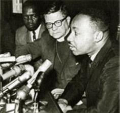 James Pike with Martin Luther King, Jr. at a press conference after the March to Selma, Alabama