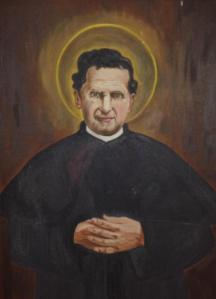 My 68 year old painting of St. John Bosco.  A gift from one of  my students at Maryville