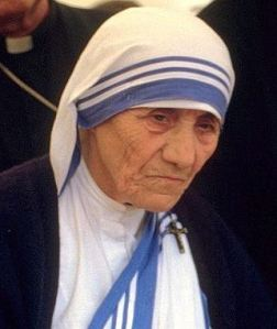 "Mother Teresa was born on Aug 26, 1910.  Her name, Anjezë Gonxhe Bojaxhiu, means ""rosebud"" or ""little flower"" in Albanian.  She spent her life listening to the voices of the poor. Picture via Wikipedia"