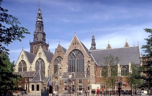 """The 800 year old Oude Kerk (""""old church"""") is Amsterdam's  oldest building and oldest parish church,  founded ca. 1213 and finally consecrated in 1306 Via Wikipedia"""