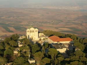 The Franciscan Church of the Transfiguration on Mount Tabor in Israel. Mount Tabor is traditionally identified as the Mount of Transfiguration. Via Wikipedia