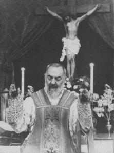 St. Padre Pio celebrating Mass Via Wikipedia