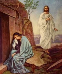 Jesus resurrected and Mary Magdalene Via Wikipedia
