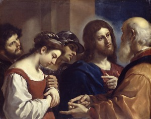 Christ with the Woman Taken in Adultery,  by  Guercino, 1621 Via Wikipedia