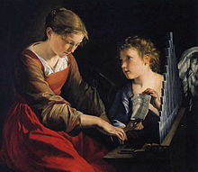 Saint Cecilia with an Angel, by Gentileschi Saint Cecilia is the patroness of musicians Picture via Wikipedia