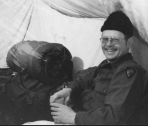 Fr John Hinsvark, as a Catholic Chaplain and Captain in the United States Army, during a field exercise in  Bethel, Alaska, in 1982. Photo courtesy of Fr. John Hinsvark via The Alaskan Shepard