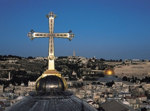 The Golgotha Crucifix topping the smaller dome of the church of the Holy Sepulcher in Jerusalem Michael Hammers Studios
