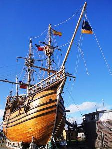 A replica of Magellan's Nao Victoria, the first vessel to circumnavigate the planet – via Wikipedia