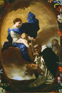 La Visione di San Domenico (The Vision of Saint Dominic), Bernardo Cavallino, via Wikipedia. In 1208, St. Dominic knelt in front of a state of Mary, asking her to save the Church. Mary appeared to Dominic with a Rosary, Instructed him to pray the Rosary and True Faith would win out.