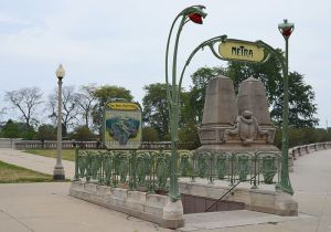 Entrance to a Metra commuter rail station in Chicago, designed in Art Nouveau style as a replica of a Paris Métro station Photo by J. Crocker via Wikipedia