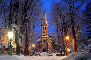 A winter scene of a church in Weissenbach an der Triesting, Lower Austria Photo by Nait lem, via Wikipedia