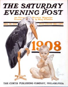 An illustration by J. C. Leyendecker featured as the cover of The Saturday Evening Post welcoming in the New Year of 1908