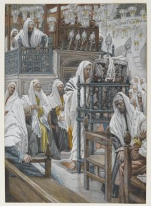 Jesus Unrolls the Book in the Synagogue James Tissot – via Wiki Common