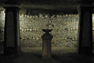 Crypt of the Sepulchral Lamp in the Catacombs of Paris Photograph taken by Michael Reeve, 30 January 2004 via wiki commons
