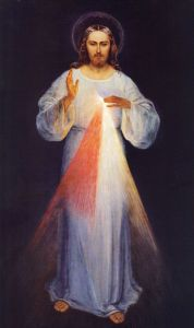 The original image (circa 1934) painted according to the apparitions of St. Faustina by Eugene Kazimierowski. Now permanently enshrined at the Divine Mercy Sanctuary of Vilnius, Lithuania. Via Wikipedia