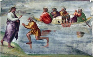 Miraculous catch of 153 fish fresco in the Spoleto Cathedral, Italy Photo by Georges Jansoone via Wikimedia
