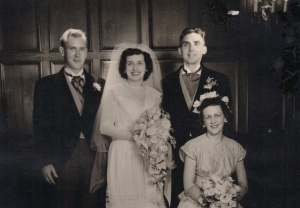 My Brother John at his wedding, May, 1951  with his beautiful bride Kay.   That's my brother, Frank, on the left.