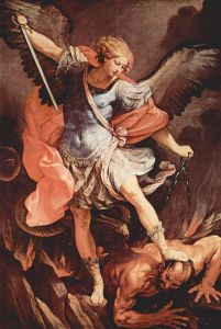 Guido Reni's archangel Michael tramples Satan. (in the Capuchin church of Santa Maria della Concezione, Rome) via Wikipedia