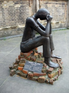 The ordeal - Sculpture by Edith Breckwoldt Citation by Dietrich Bonhoeffer  No man in the whole world can change the truth.  One can only look for the truth, find it and serve it.  The truth is in all places. Photo by emma7stem via wikipedia