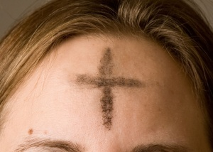 Ashes imposed on the forehead of a Christian on Ash Wednesday Photo by Jennifer Balaska via Wikipedia
